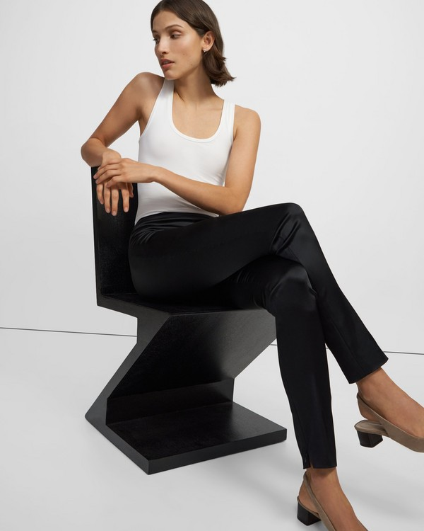 High-Waisted Legging in Stretch Satin