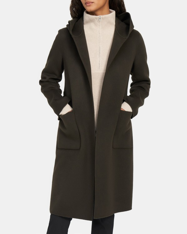 Hooded Robe Coat in Double-Face Wool-Cashmere