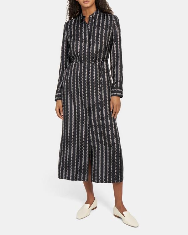 띠어리 체인 링크 벨티드 셔츠원피스, 100% 실크 (이민정, 조여정 착용) Theory Belted Shirtdress in Chain-Link Silk,BLACK MULTI
