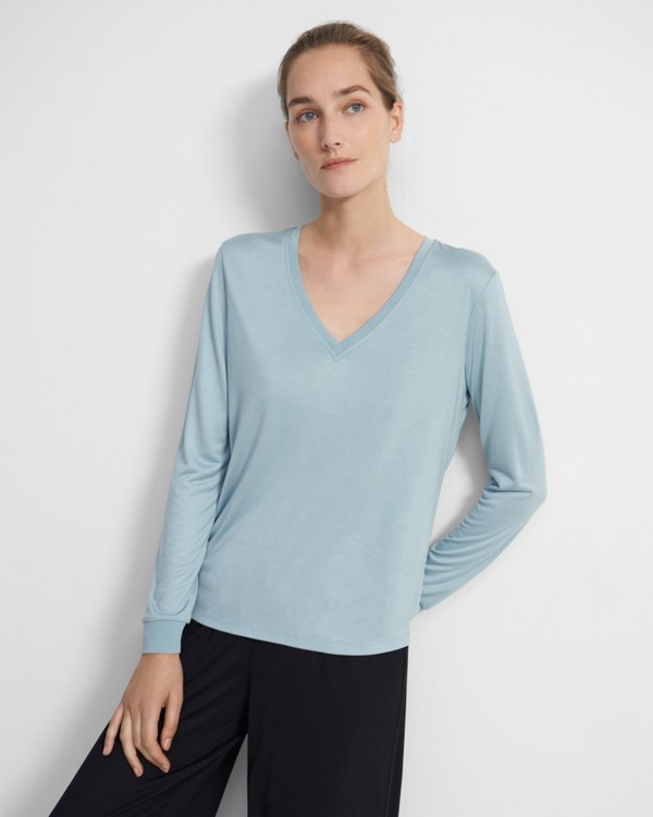 Ribbed V-Neck Top in Silk Jersey
