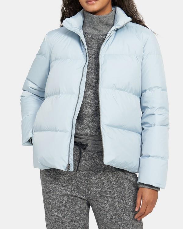 띠어리 스탠드 카라 숏패딩 - 슬레이트 블루 Theory Stand Collar Puffer Jacket