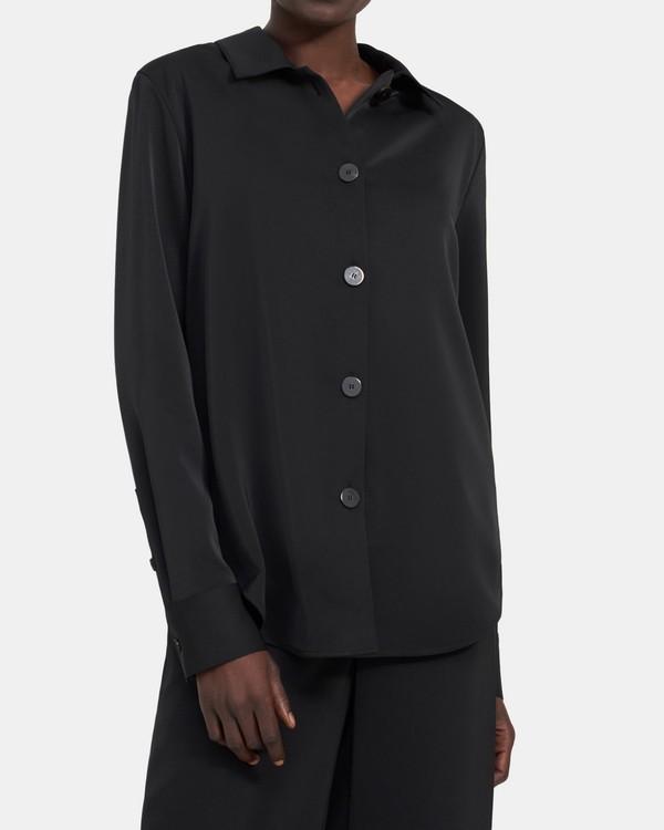 띠어리 버튼업 셔츠, 매트 트윌 - 블랙 Theory Button-Up Shirt in Matte Twill K105510R