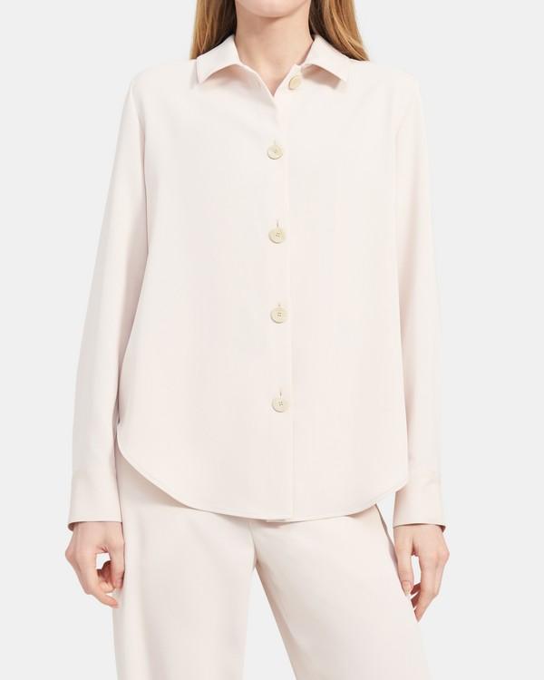 띠어리 버튼업 셔츠, 매트 트윌 - 펄 Theory Button-Up Shirt in Matte Twill K105510R