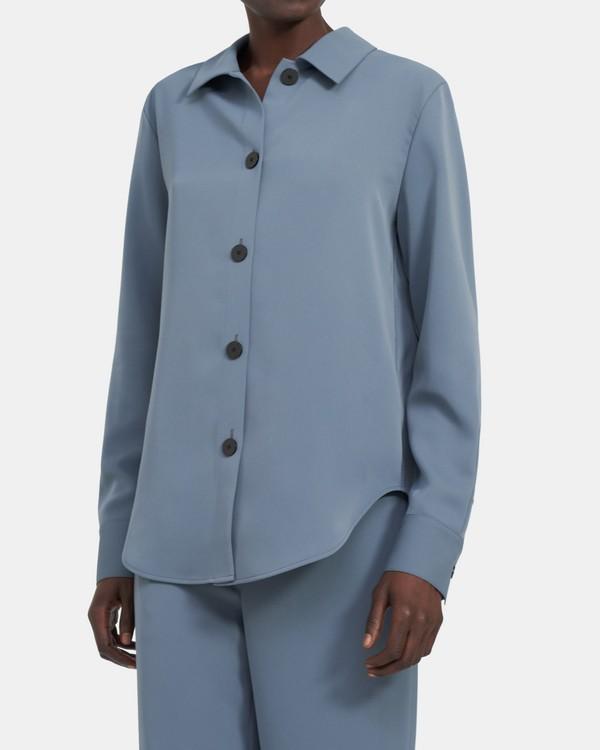 띠어리 버튼업 셔츠, 매트 트윌 - 스틸 블루 Theory Button-Up Shirt in Matte Twill K105510R