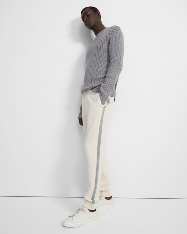 Side Stripe Jogger in Wool-Cashmere