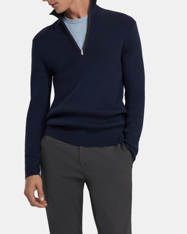 Quarter-Zip Sweater in Wool-Cotton