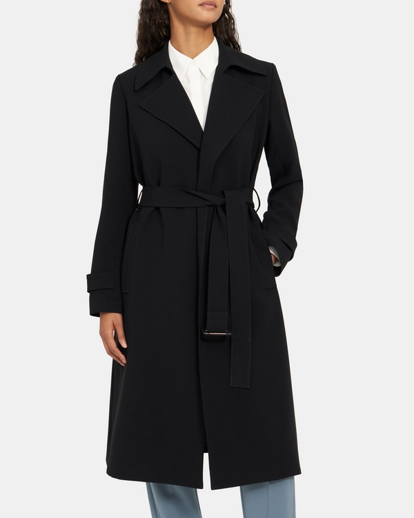Relaxed Trench Coat in Crepe