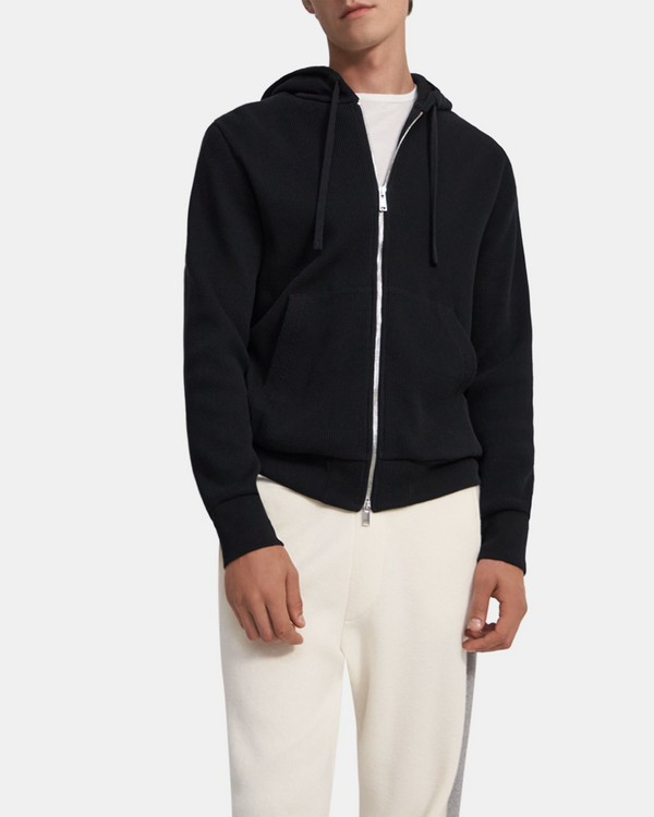 Zip Hoodie in Waffle-Knit Cotton