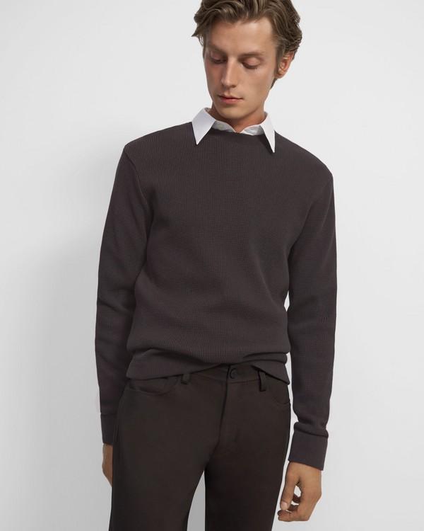 띠어리 Theory Crewneck Pullover in Waffle-Knit Cotton,DK EGGPLANT