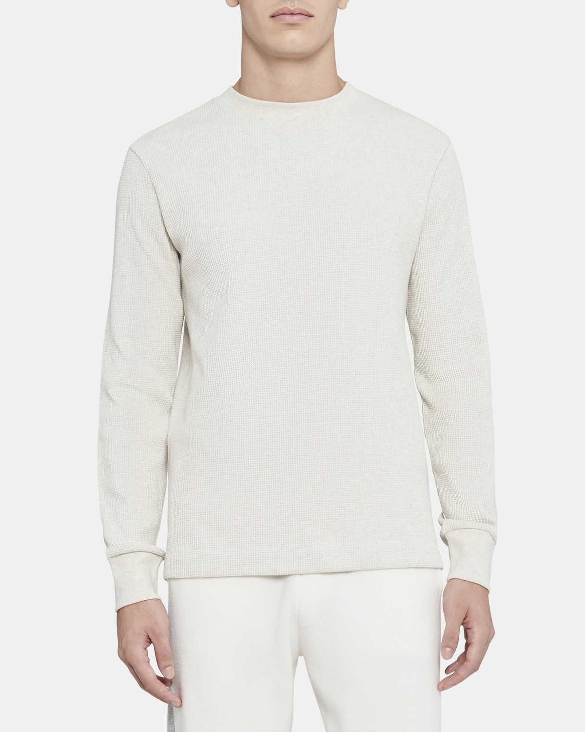 Crewneck Pullover in Waffle-Knit Cotton