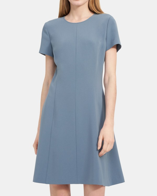 Modern Seamed Shift Dress in Crepe