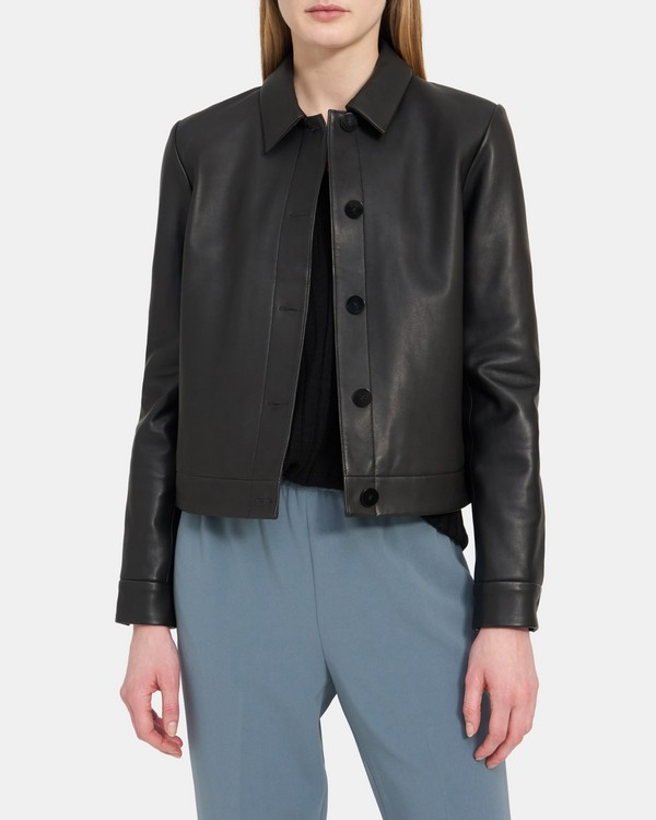 Cropped Jacket in Leather