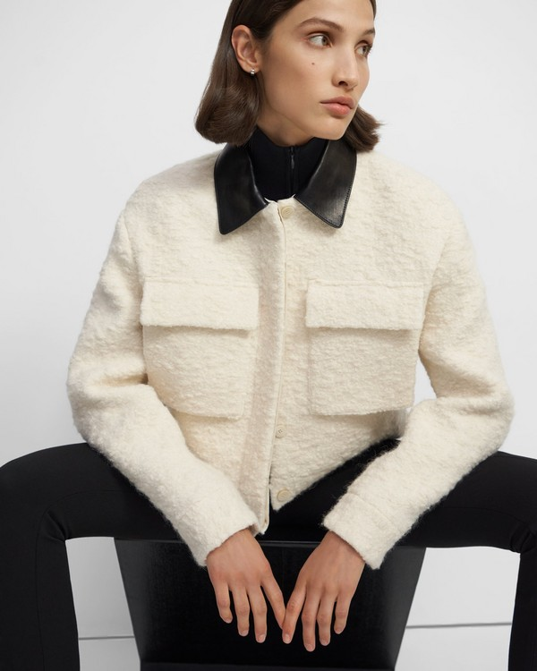 Utility Cropped Jacket in Bouclé Wool