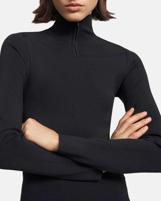 띠어리 Theory Quarter-Zip Turtleneck in Ribbed Nylon,BLACK
