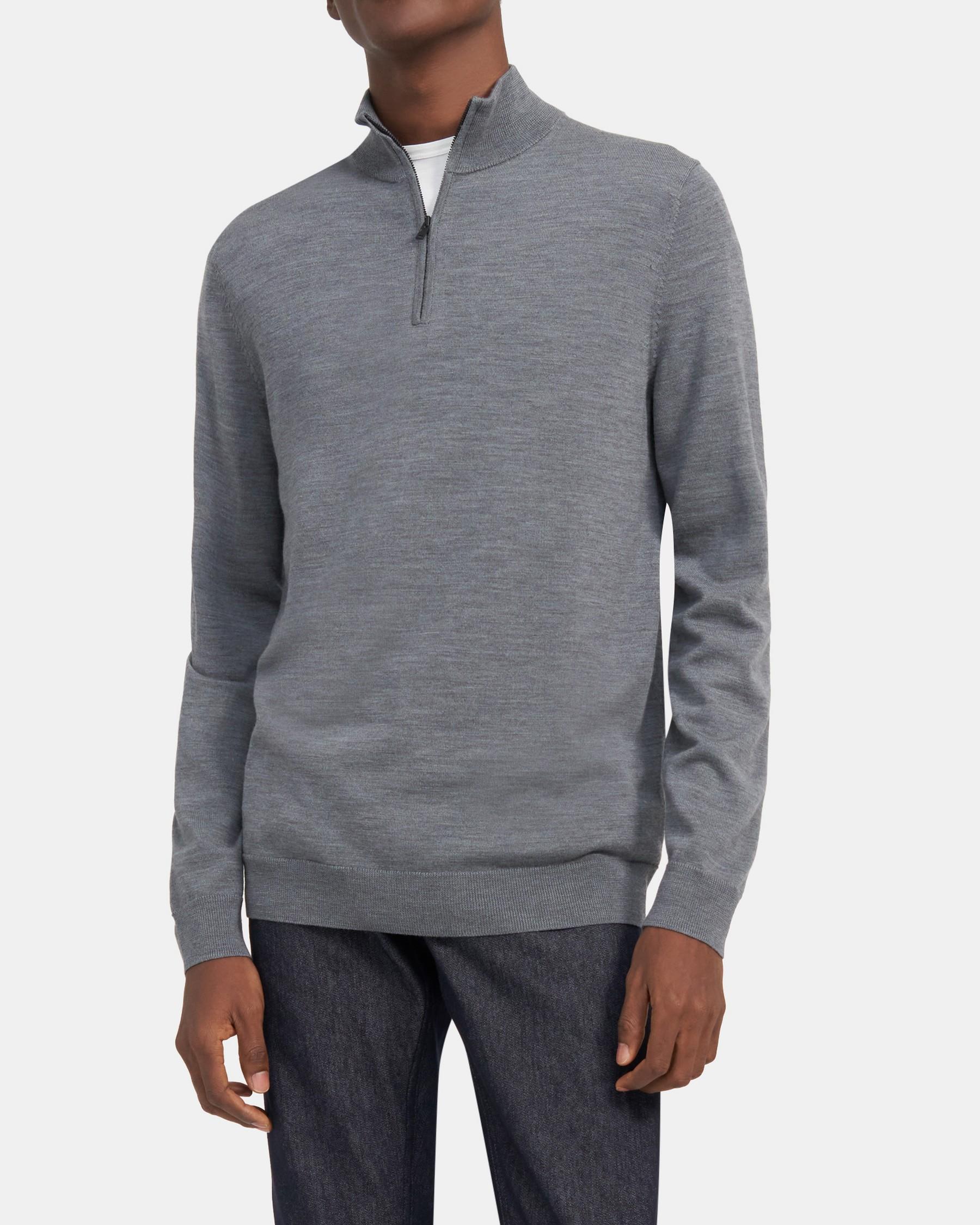 Theory Quarter-Zip Mockneck Sweater in Ace Wool