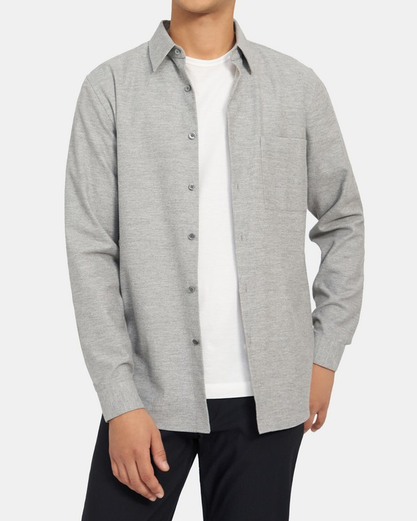Standard-Fit Shirt in Cotton Flannel