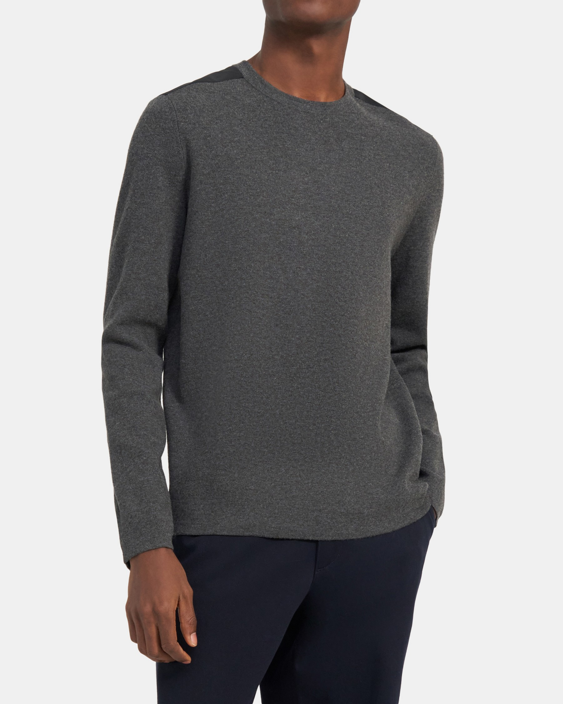 Theory Mixed Crewneck in Snow Wool