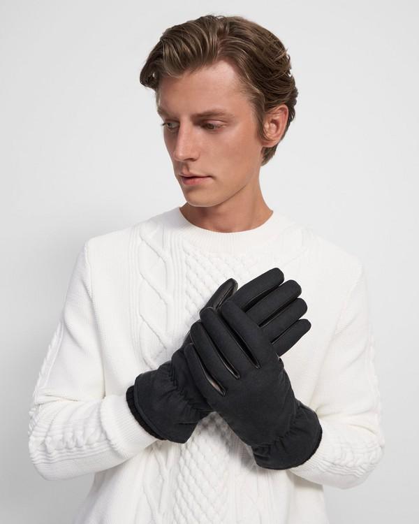 띠어리 패딩 장갑, 울&가죽 - 차콜 멜란지 Theory Padded Gloves in Wool and Leather