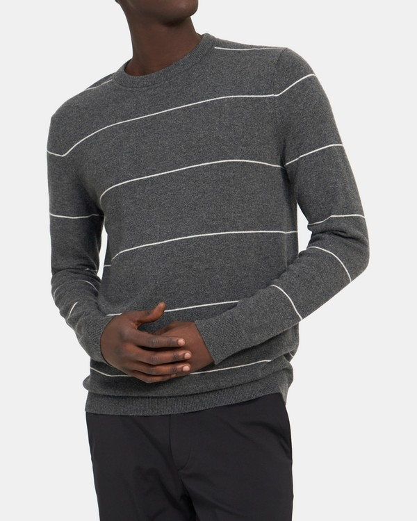 Crewneck Sweatshirt in Striped Cashmere