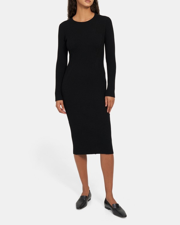 Ribbed Maxi Dress in Stretch Wool