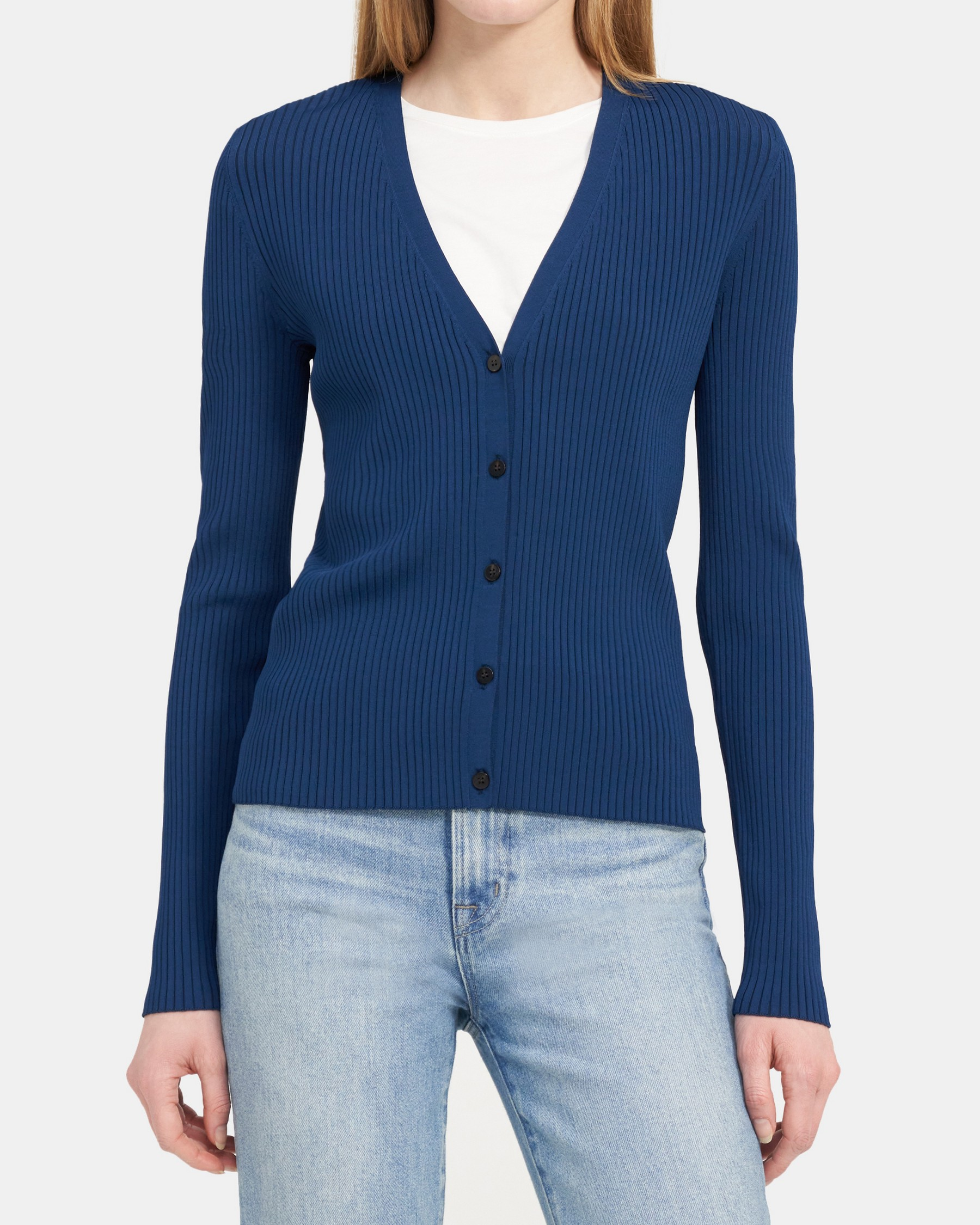 Theory Cropped Ribbed Cardigan in Stretch Knit
