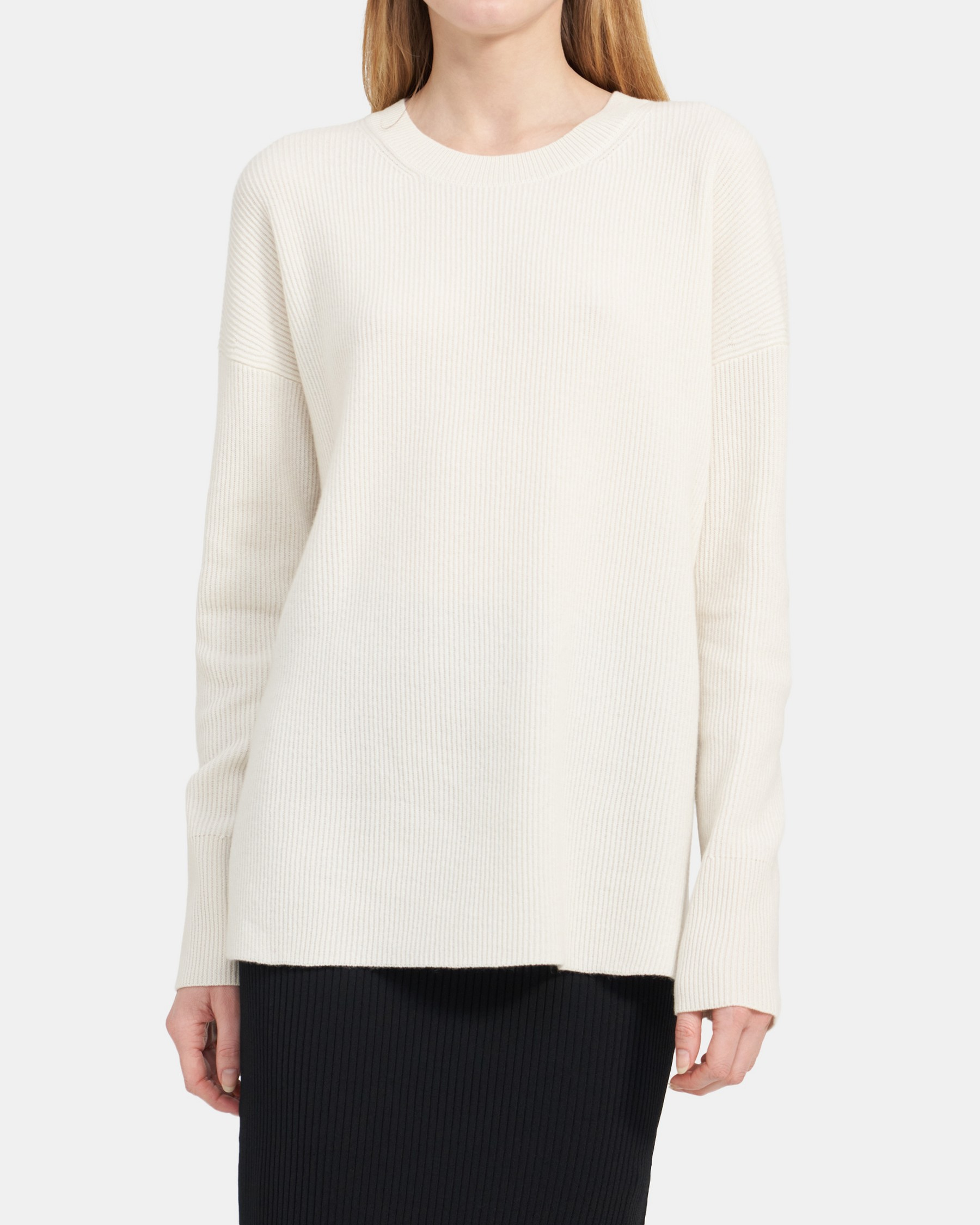 Theory Crewneck Sweater in Ribbed Cashmere
