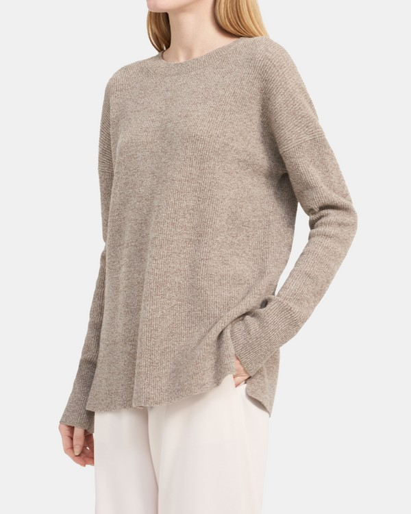 Crewneck Sweater in Ribbed Cashmere