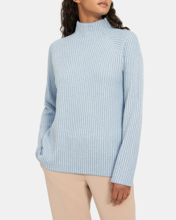 Plaited Ribbed Turtleneck in Cashmere