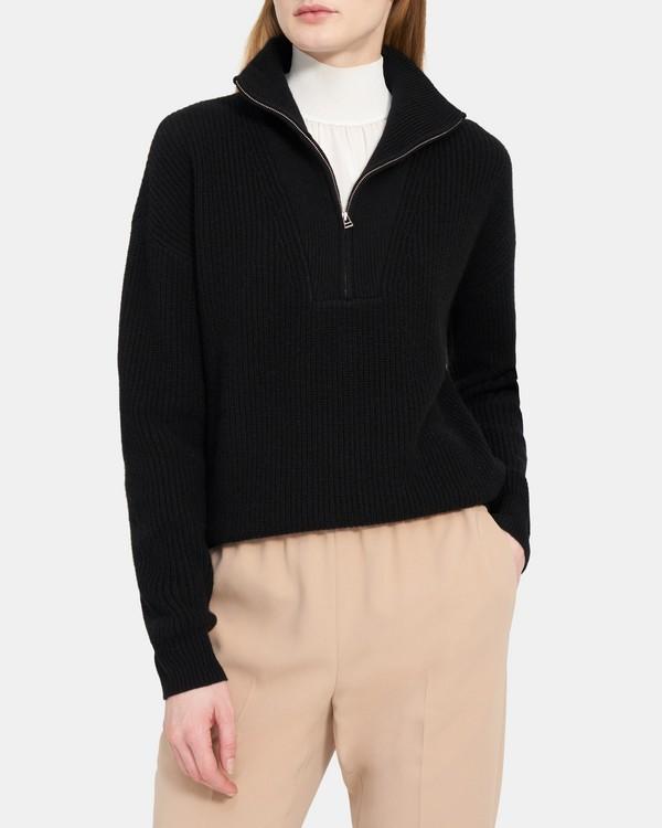 띠어리 쿼터집 풀오버, 캐시미어 - 블랙 Theory Quarter-Zip Pullover in Ribbed Cashmere