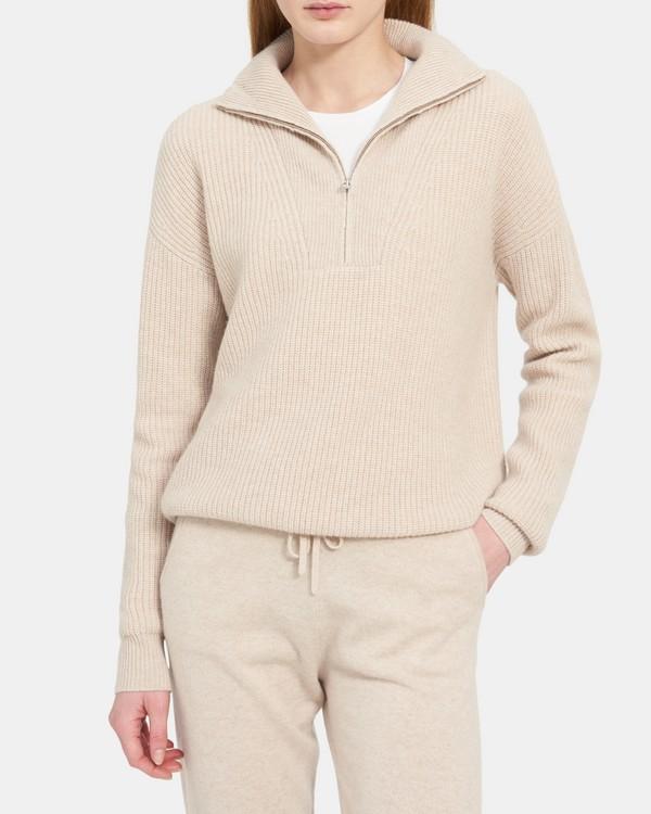 띠어리 쿼터집 풀오버, 캐시미어 - 라이트 오트밀 Theory Quarter-Zip Pullover in Ribbed Cashmere