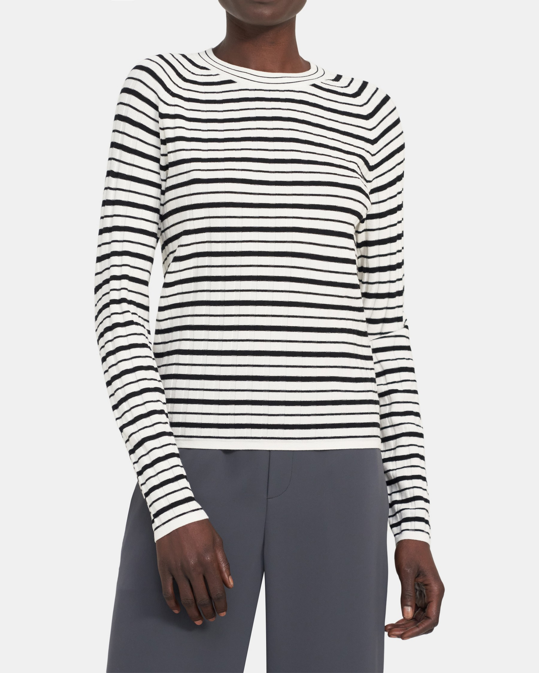 Theory Striped Ribbed Crewneck in Compact Sweater Knit