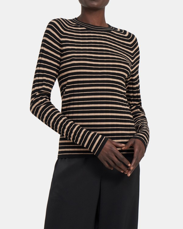 Striped Ribbed Crewneck in Compact Sweater Knit