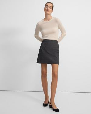 High-Waisted Mini Skirt in Double-Face Grid Cotton