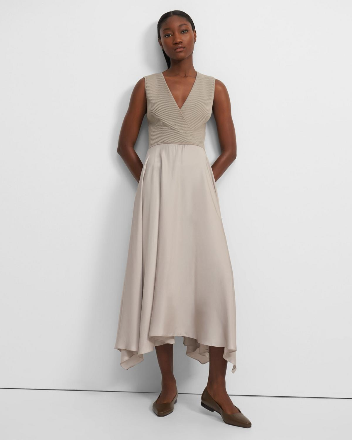 Ribbed Draped Dress in Combo Knit