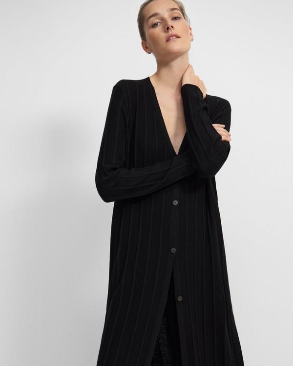 띠어리 Theory Wide Ribbed Long Cardigan in Empire Wool,BLACK