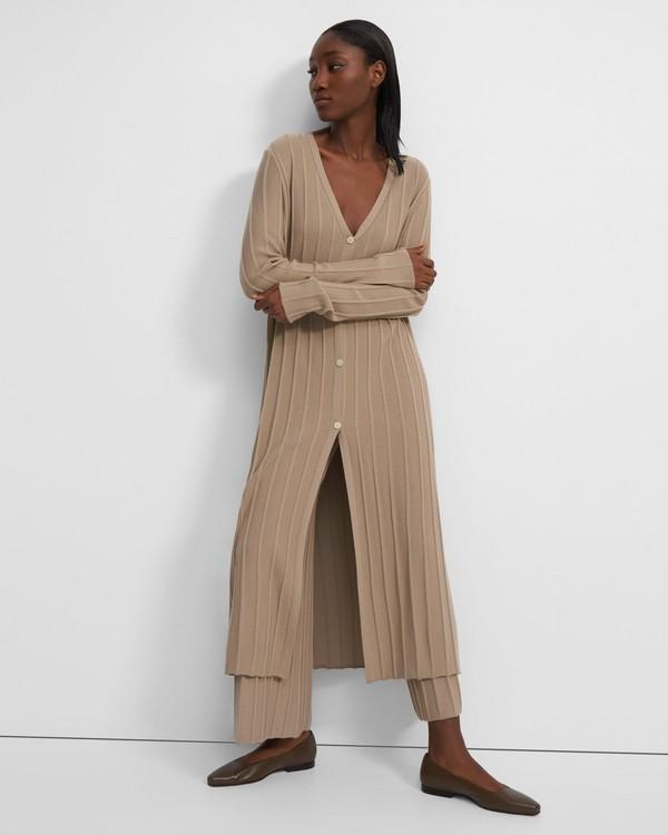 띠어리 Theory Wide Ribbed Long Cardigan in Empire Wool,TAN