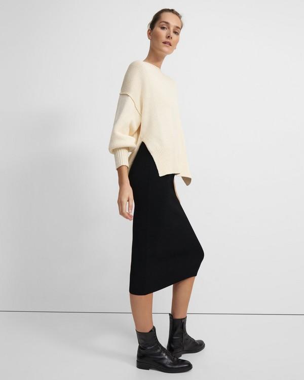띠어리 스커트 Theory Ribbed Midi Skirt in Compact Crepe,BLACK