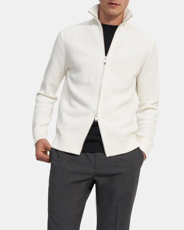 Waffle-Knit Zip Sweater in Organic Cotton
