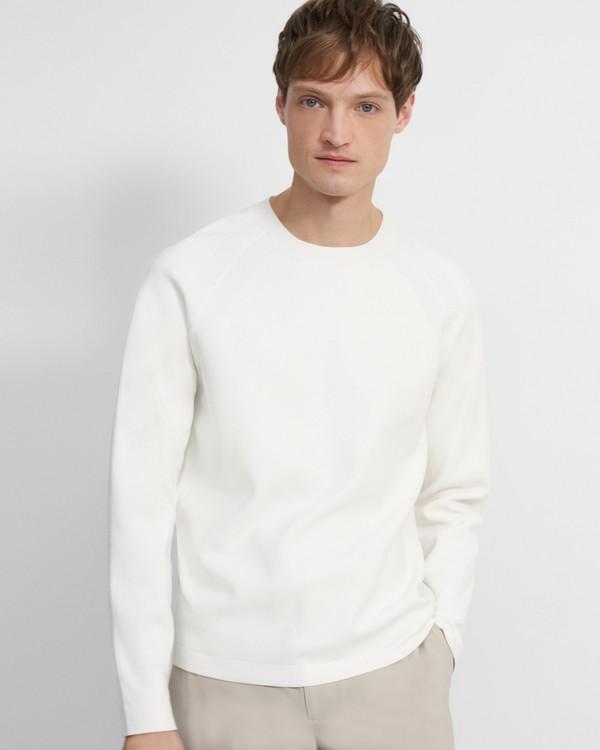 21SS 띠어리 맨 크루넥 스웨터, 파인 빌렌 - 화이트 Theory Crewneck Sweater in Fine Bilen L0186707