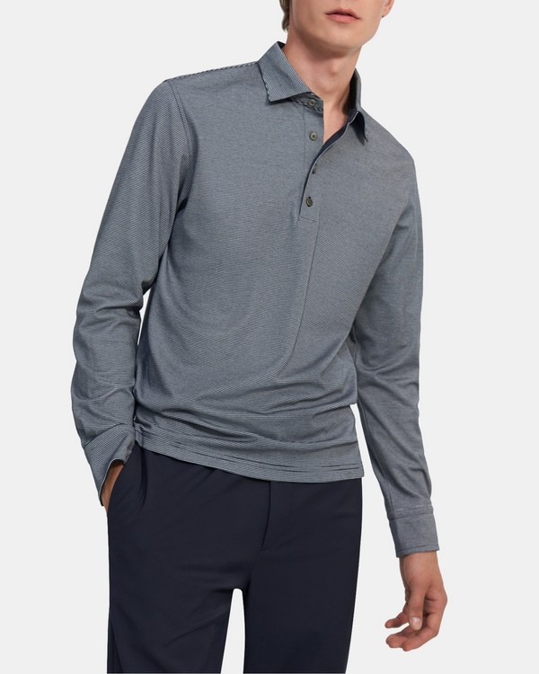 Long-Sleeve Polo Shirt in Striped Cotton Blend