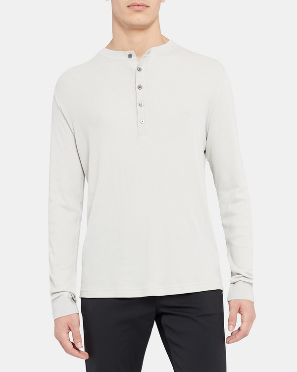 Henley Shirt in Ribbed Pima Cotton