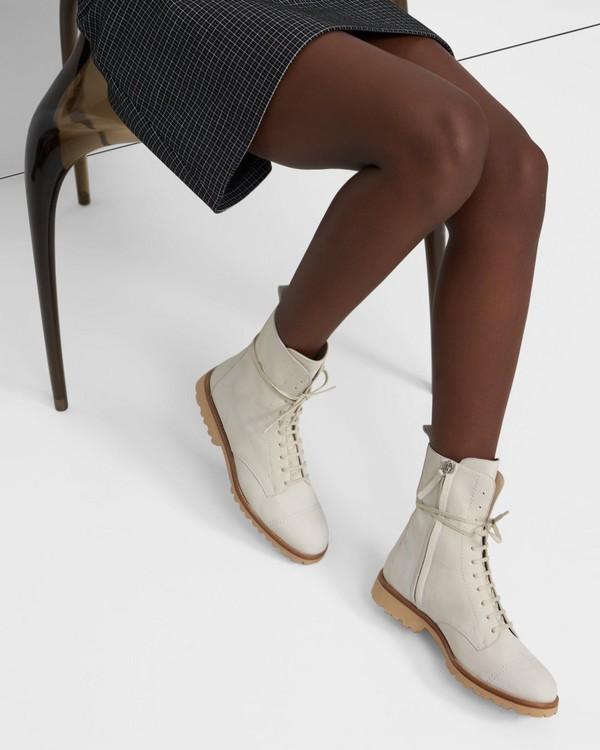 띠어리 Theory Laced Lug Boot in Nubuck Leather,CEMENT
