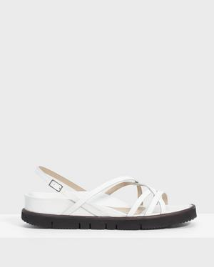 Multi-Strap Lug Sandal in Leather