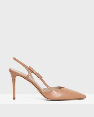 Buckled Mid-Heel Sandal in Leather