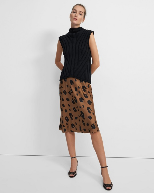 Slip Skirt in Leopard Print Silk