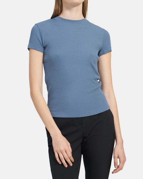 Fitted Tee in Ribbed Modal-Cotton