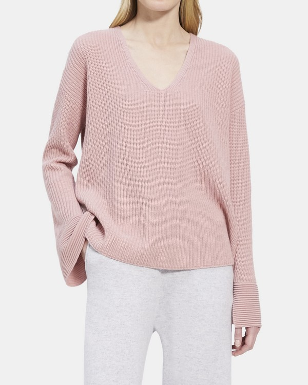 V-Neck Ribbed Cuff Pullover in Cashmere