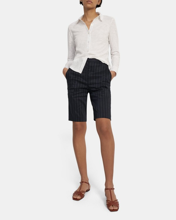 Easy Bermuda Short in Pinstripe Linen