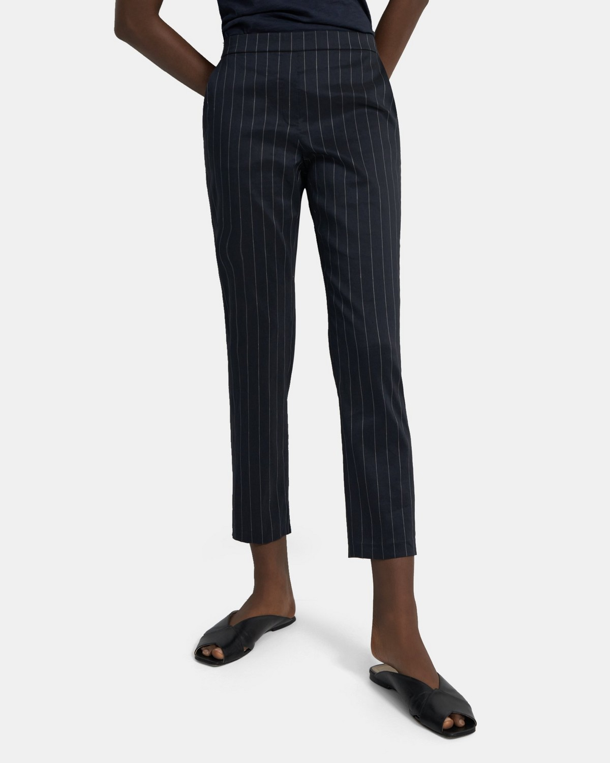 Treeca Pull-On Pant in Pinstripe Linen
