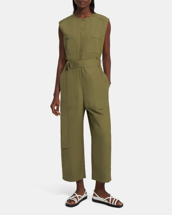Belted Cargo Jumpsuit in Cotton